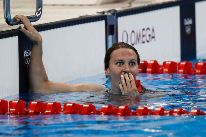 Day two: The swimmer Jazmin Carlin realises she has won the silver medal in the 400m Freestyle.