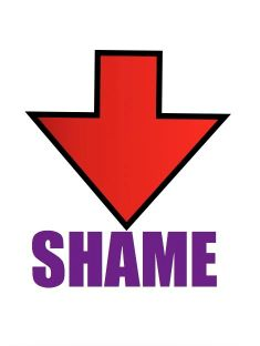 Arrow pointing to word shame graphic