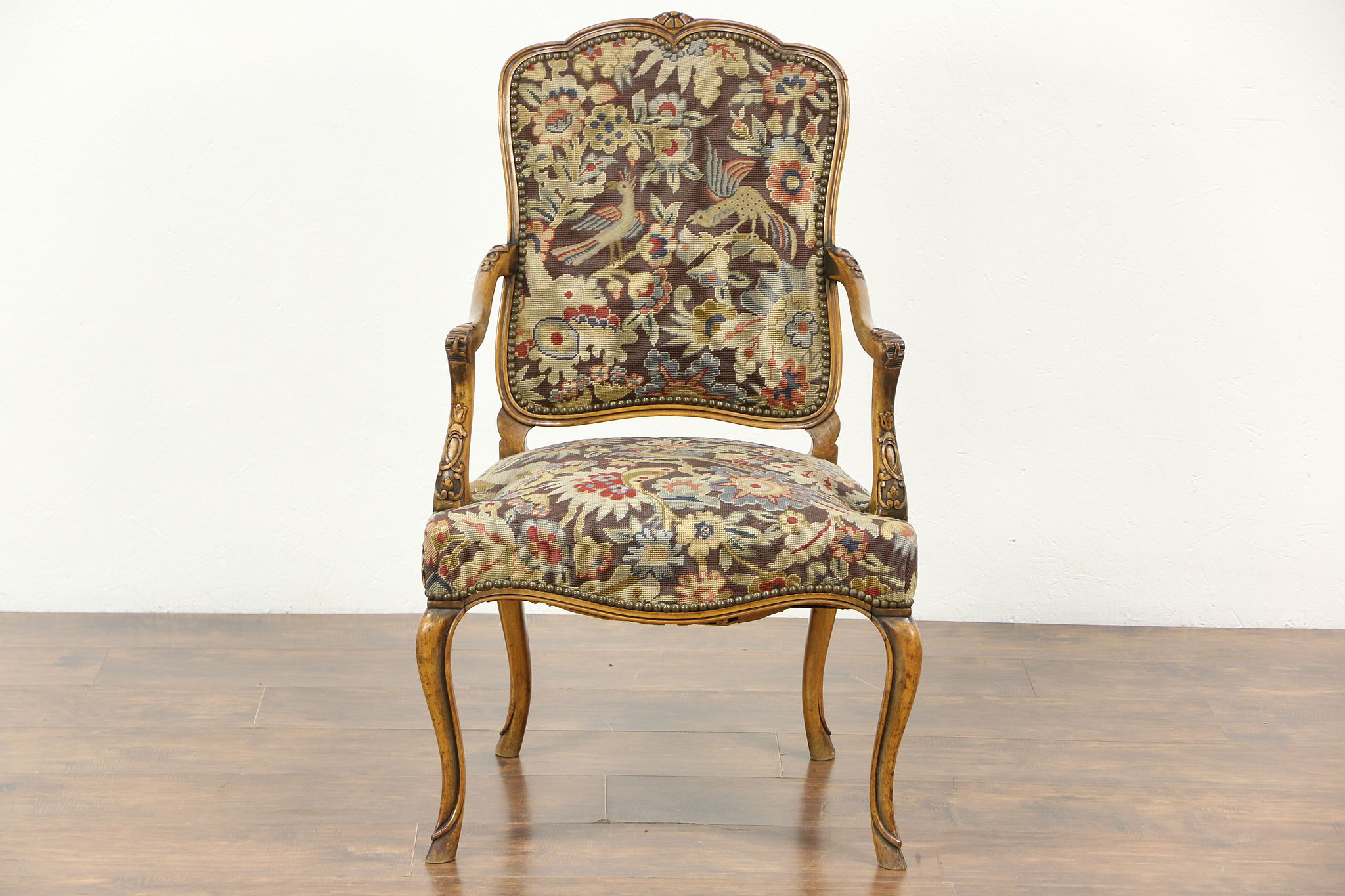 Scandinavian Chair Carved Antique Scandinavian Chair Needlepoint Petit Point Upholstery