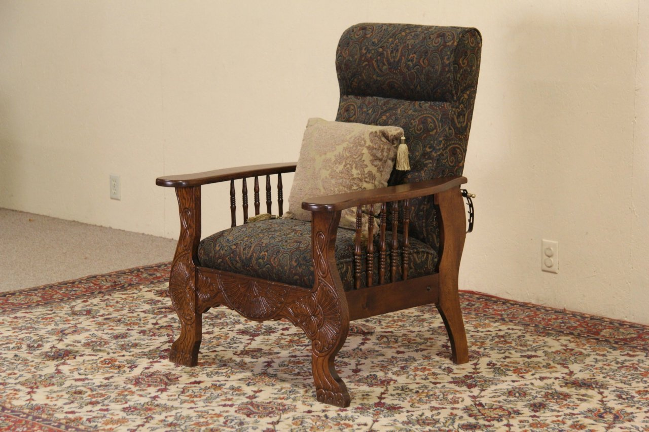 Green Upholstered Chair Morris Chair 1900 Antique Oak Adjustable Recliner Green Upholstery