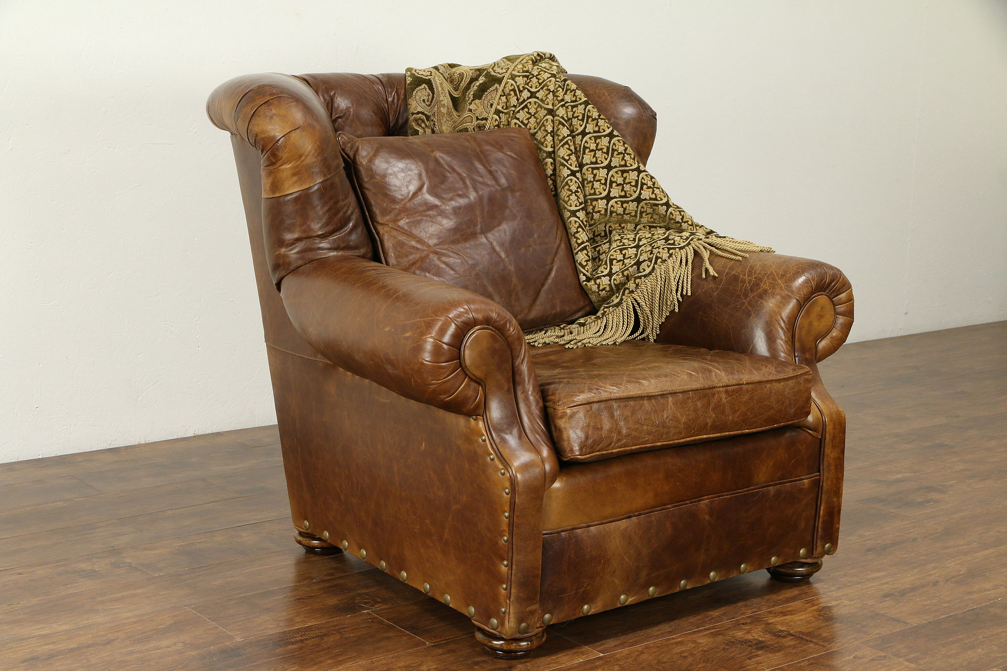 Wingback Tufted Chair Leather Wing Back Large Tufted Chair Pillow Signed Mitchell Gold 30960