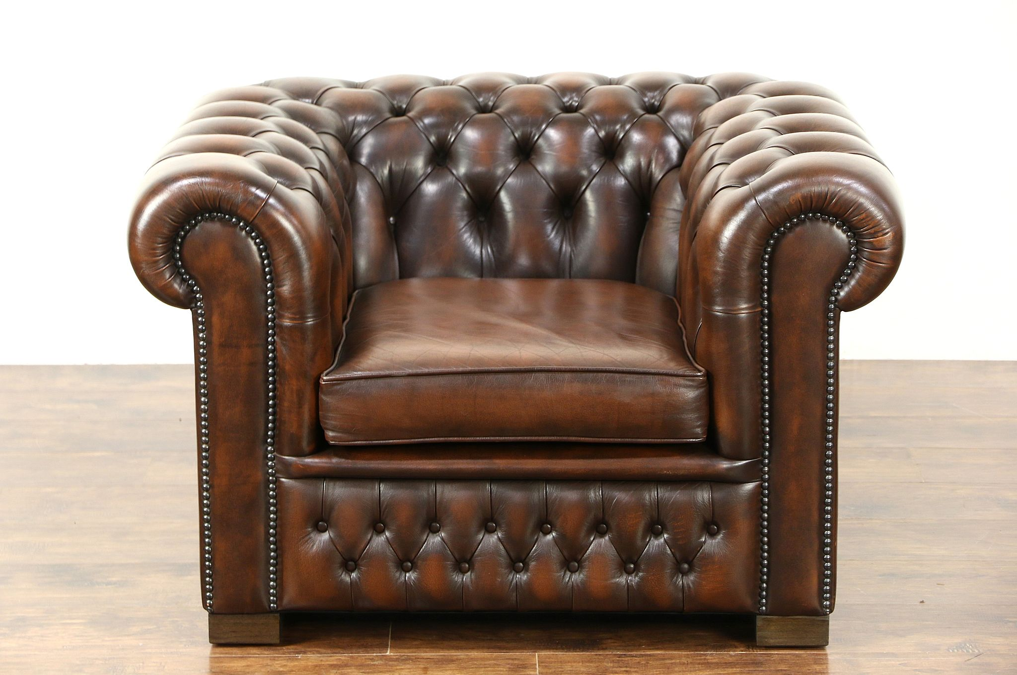 Brown Leather Chairs Chesterfield Tufted Brown Leather Vintage Scandinavian Tub Chair