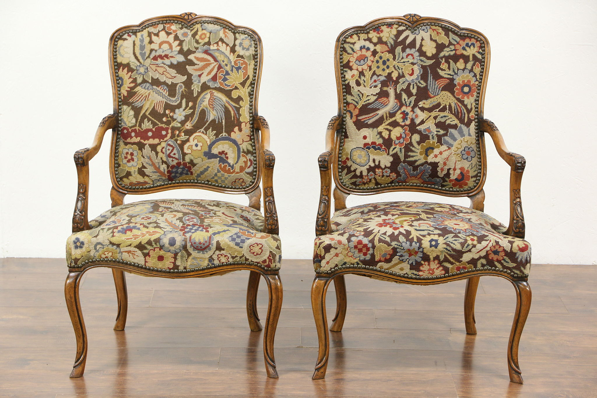 Scandinavian Chairs Pair Of Carved Antique Scandinavian Chairs Needlepoint Petit Point Upholstery