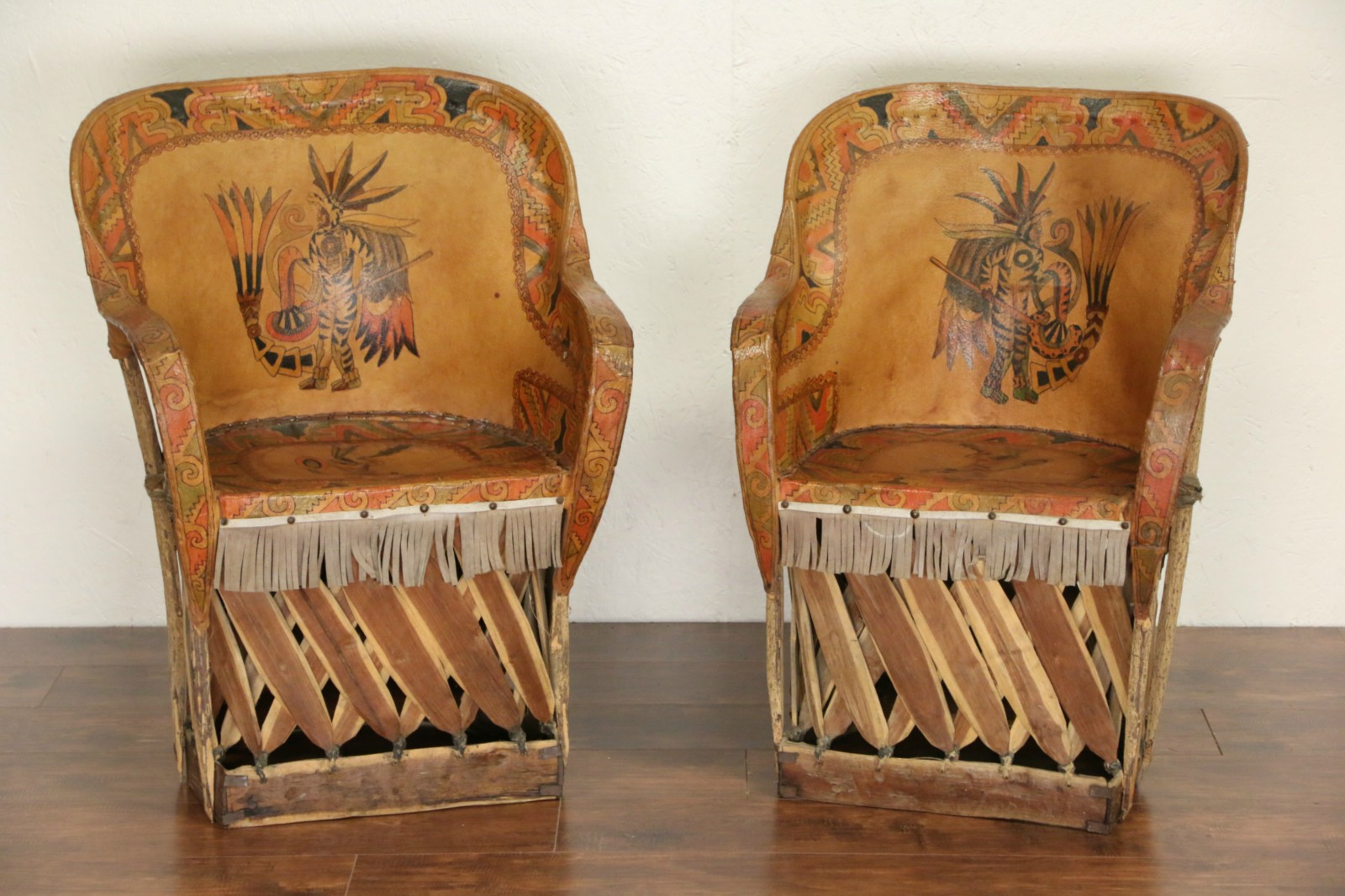 Aztec Chair Sold Southwest Pair Of Mexican Aztec Motif Painted