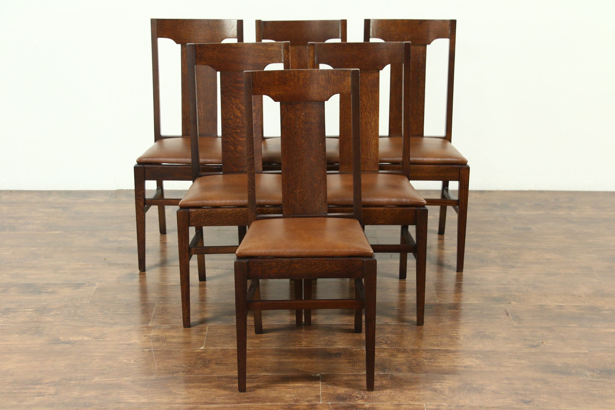 Dining Chair Set Of 6 Set 6 Arts Crafts Mission Oak Antique Craftsman Dining Chairs Leather 28678