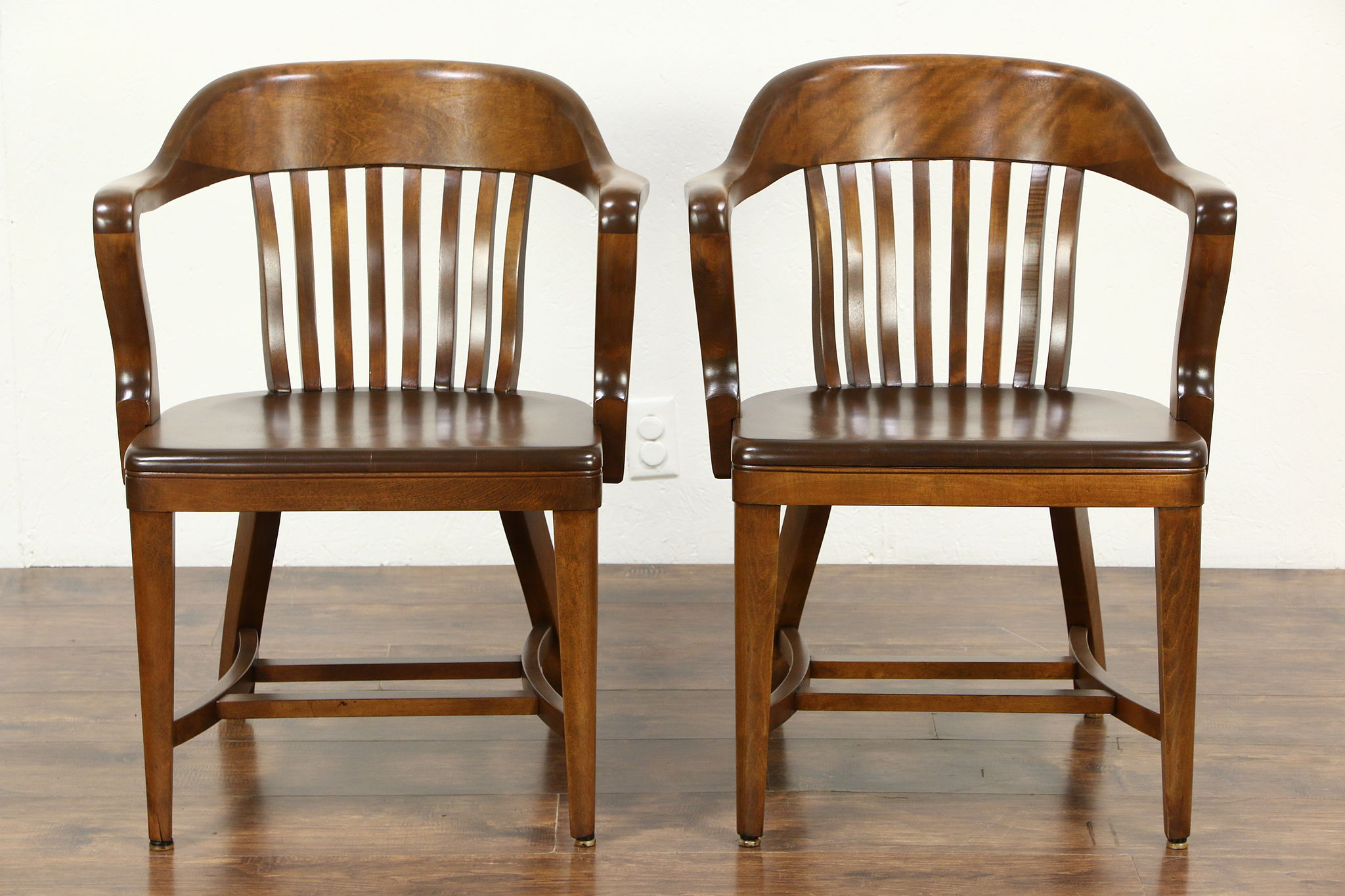 Curved Back Chair Pair 1920 Antique Curved Back Birch Banker Office Or Library Chairs