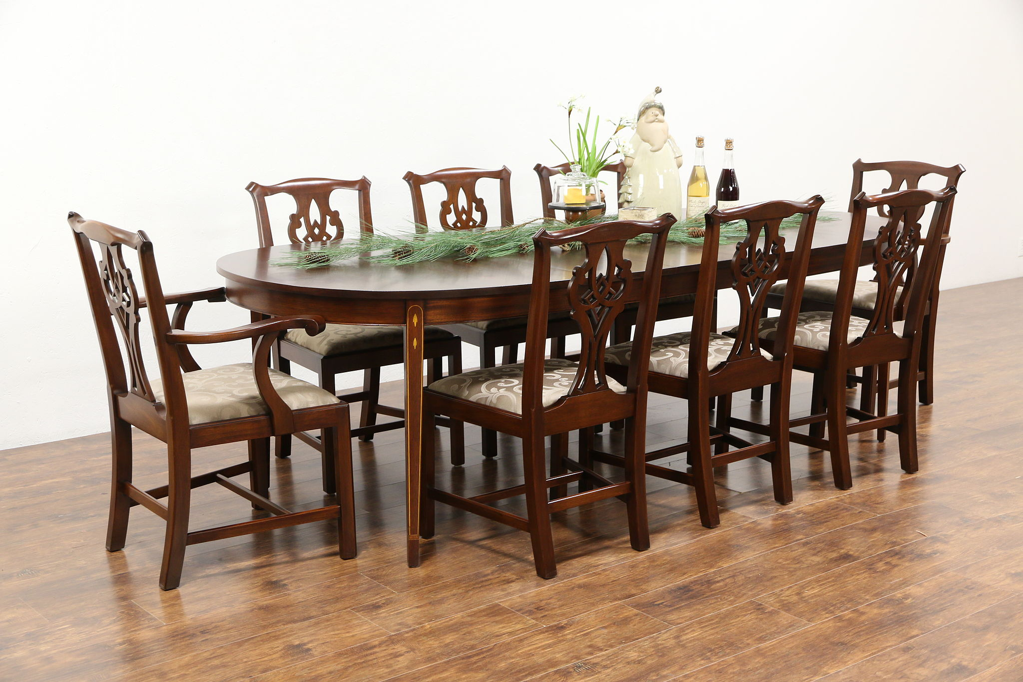 8 Chair Dining Set Traditional Mahogany Dining Set Table 3 Leaves 8 Chairs Signed Henkel Harris