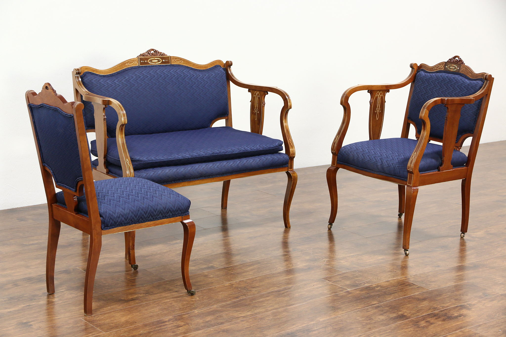 Antique Parlor Chairs Art Nouveau 1910 Antique 3 Pc Parlor Set Loveseat 2 Chairs Pearl Inlay