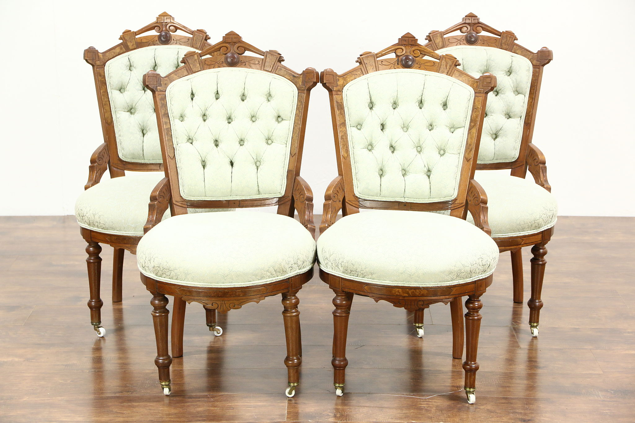 Antique Parlor Chairs Victorian Eastlake Antique Set Of 4 Walnut Game Breakfast Or Parlor Chairs