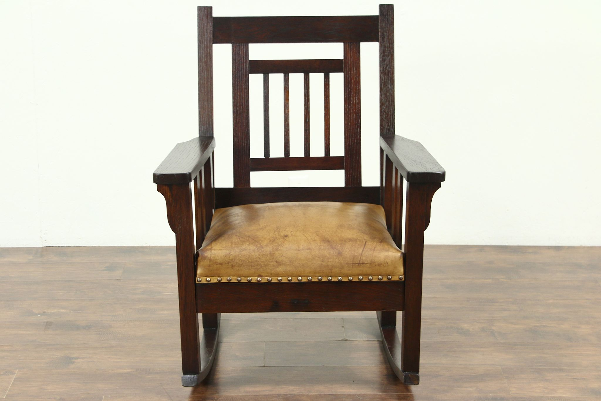 Leather Rocking Chair Arts Crafts Mission Oak Antique Rocker Leather Seat Craftsman Rocking Chair
