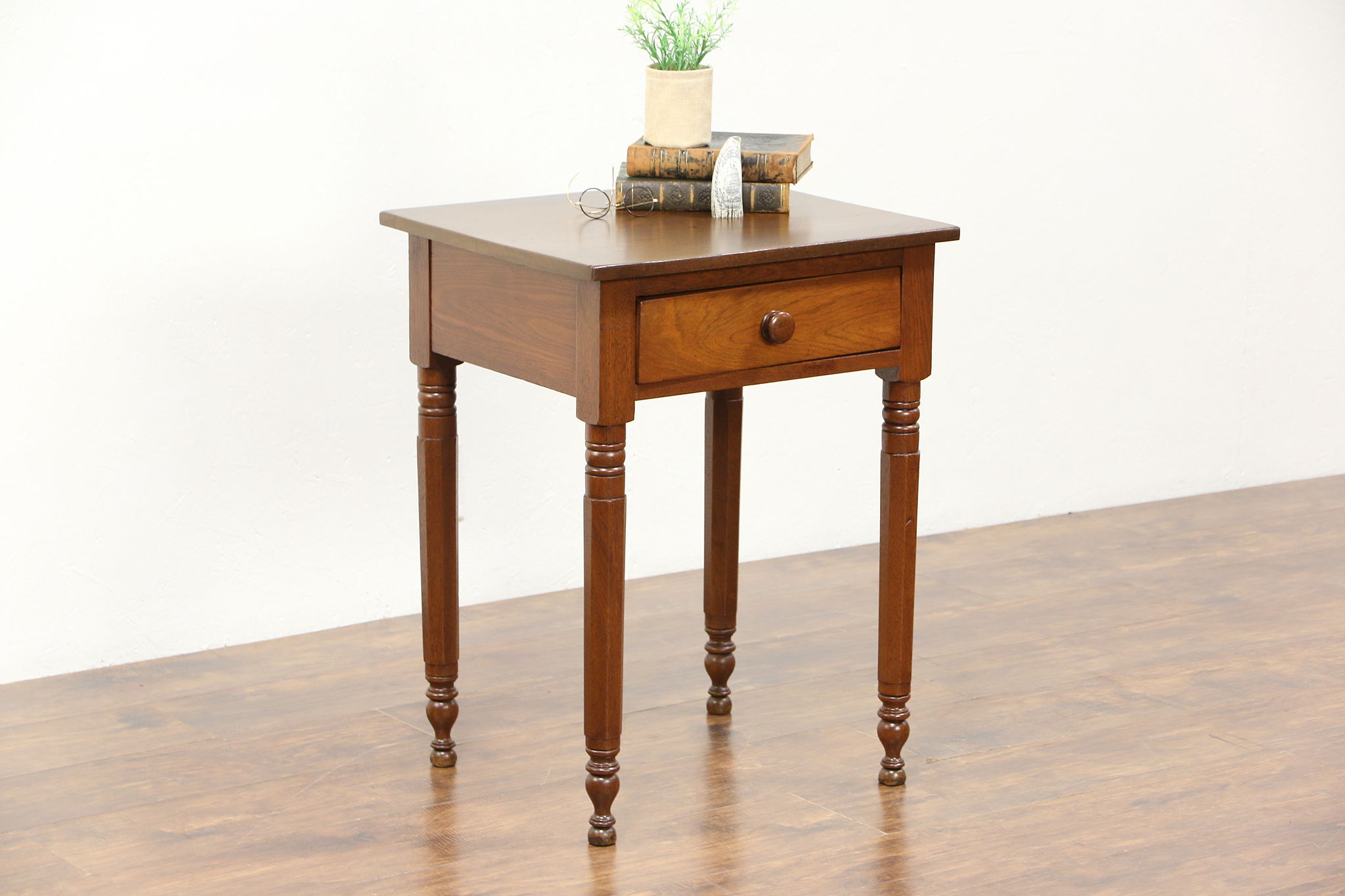 Walnut 1840 Antique Nightstand, Lamp Or End Table