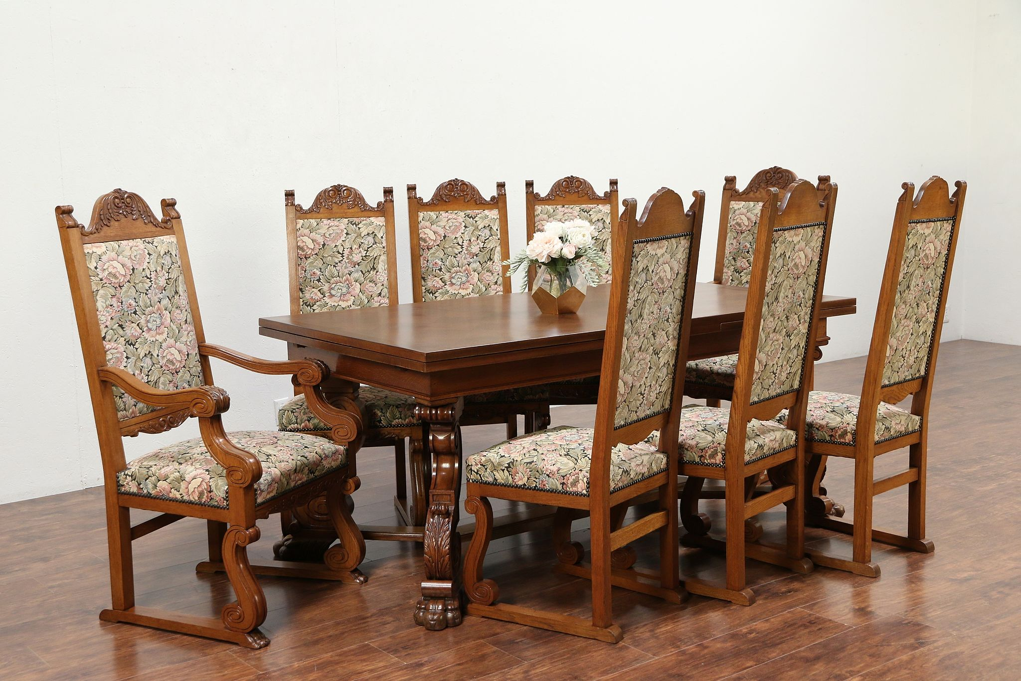 8 Chair Dining Set Oak Scandinavian Antique Dining Set 10 Table 8 Chairs Carved Lion Paws 30030