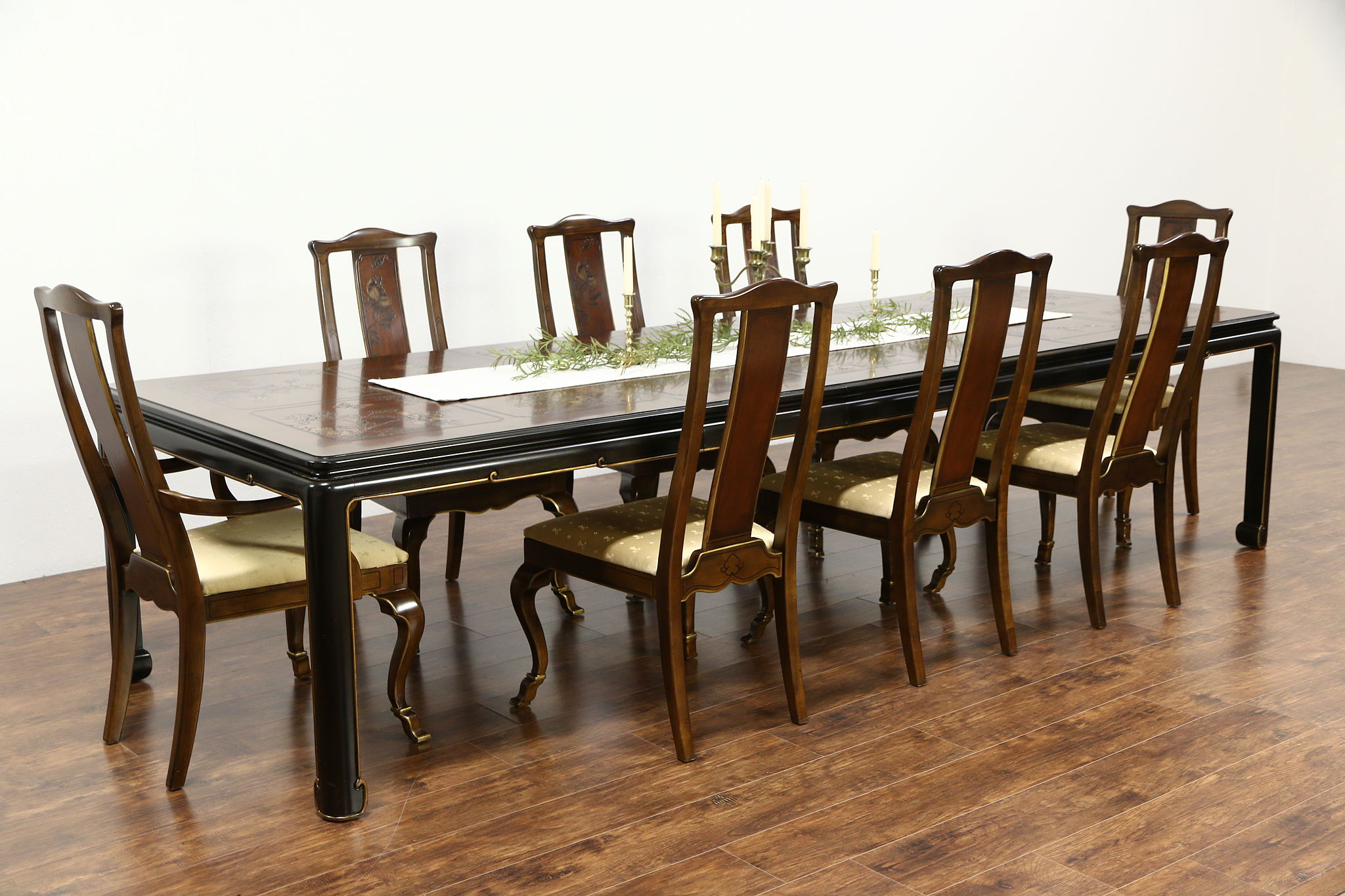 Dining Table 8 Chairs Drexel Heritage Connoisseur Chinese Motif Vintage Dining Set Table 8 Chairs