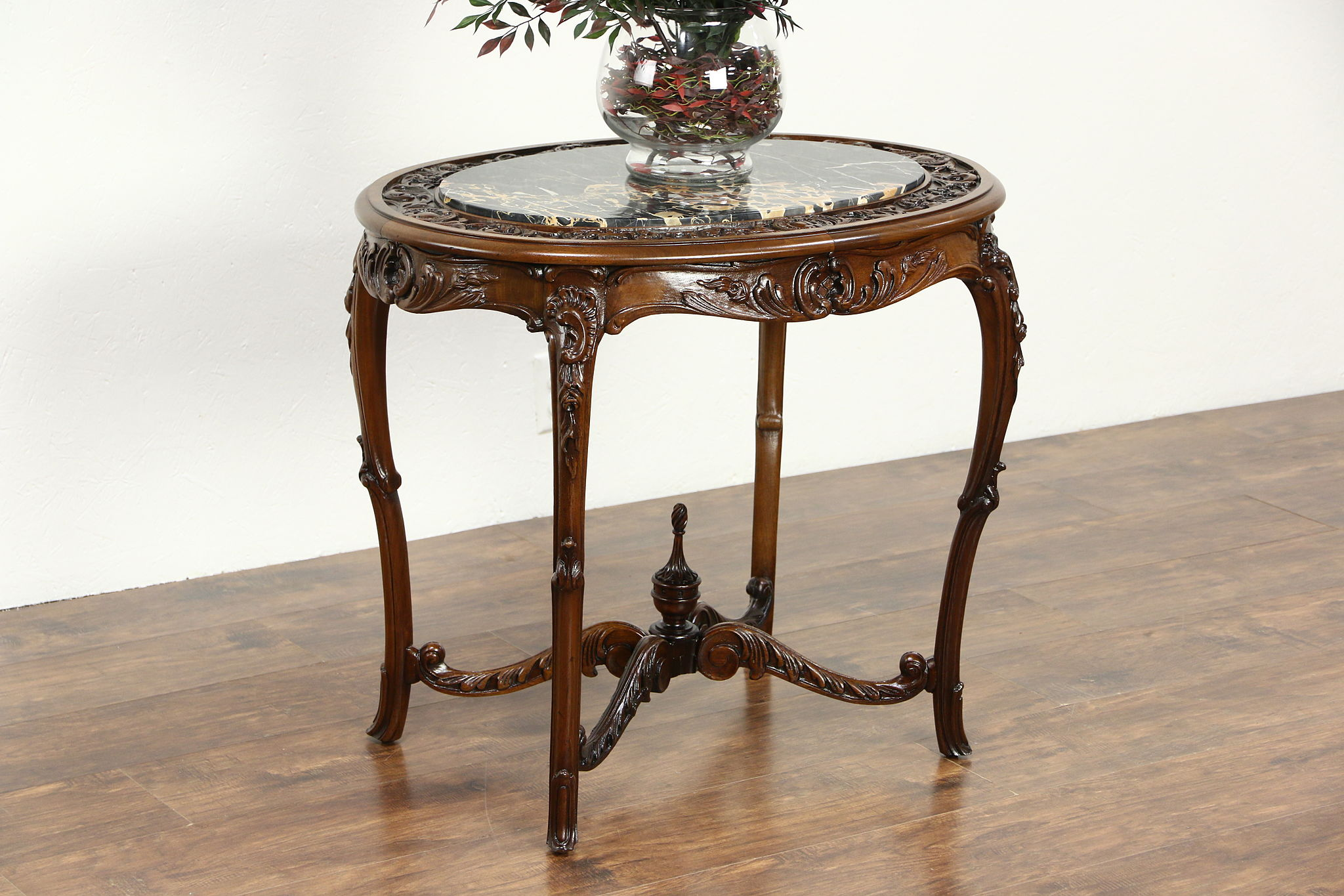 Carved 1920's Antique Walnut Lamp Or End Table