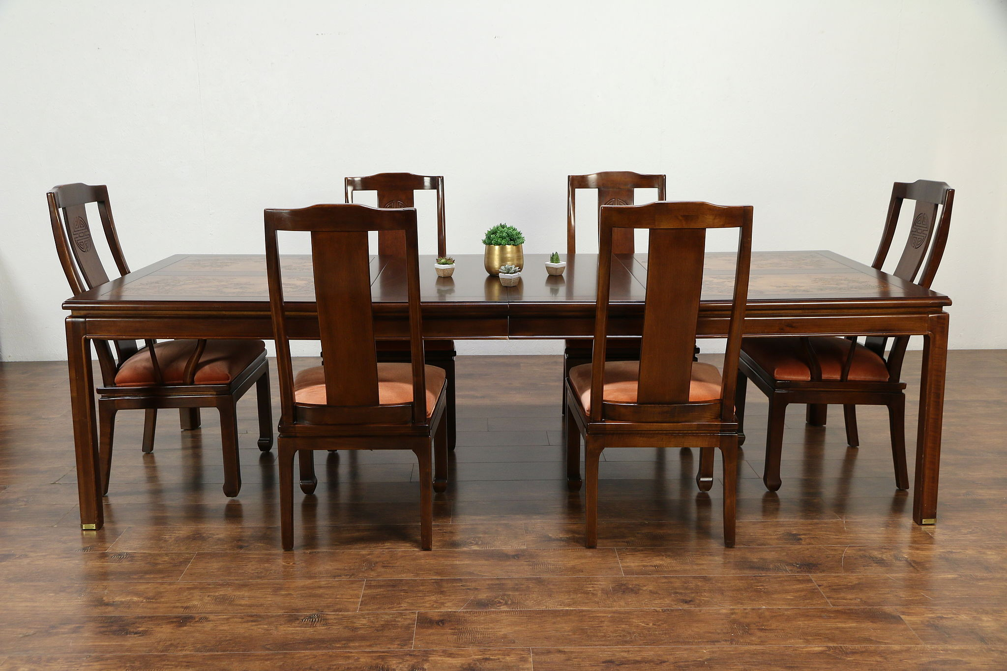 Table With 2 Chairs Chinese Carved Vintage Dining Set Table 2 Leaves 6 Chairs Bernhardt 30104