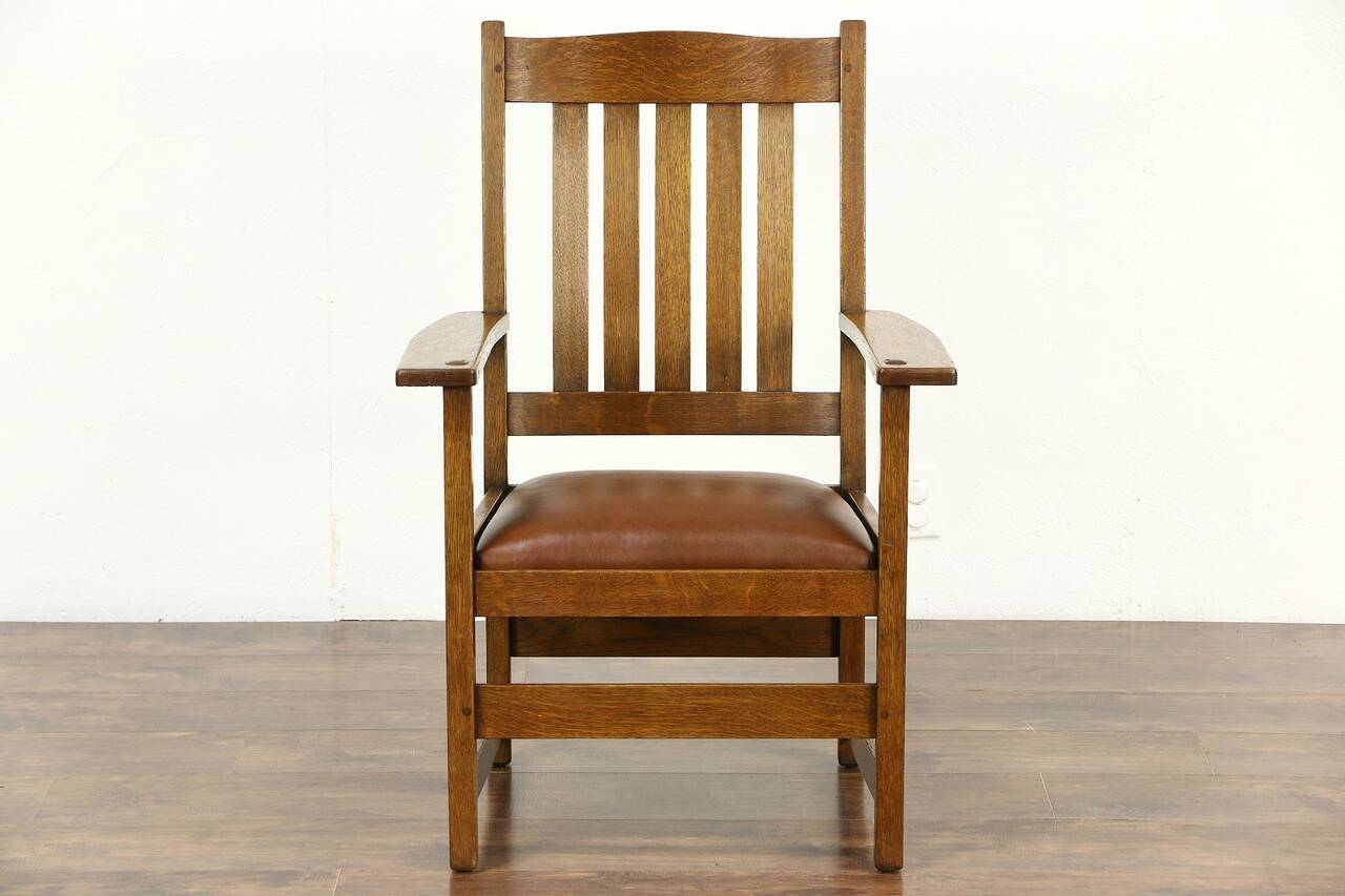 Stickley Chair L And Jg Stickley Signed Arts And Crafts Mission Oak 1905