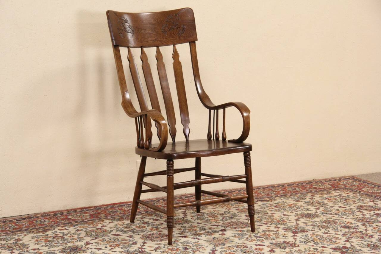 Oak Desk Chair Courthouse Oak Desk Or Dining Chair Large 1890 39s Antique