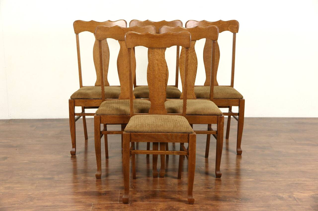 Antique Chairs Ebay Set Of Six Oak 1900 Antique Dining Chairs New Upholstery