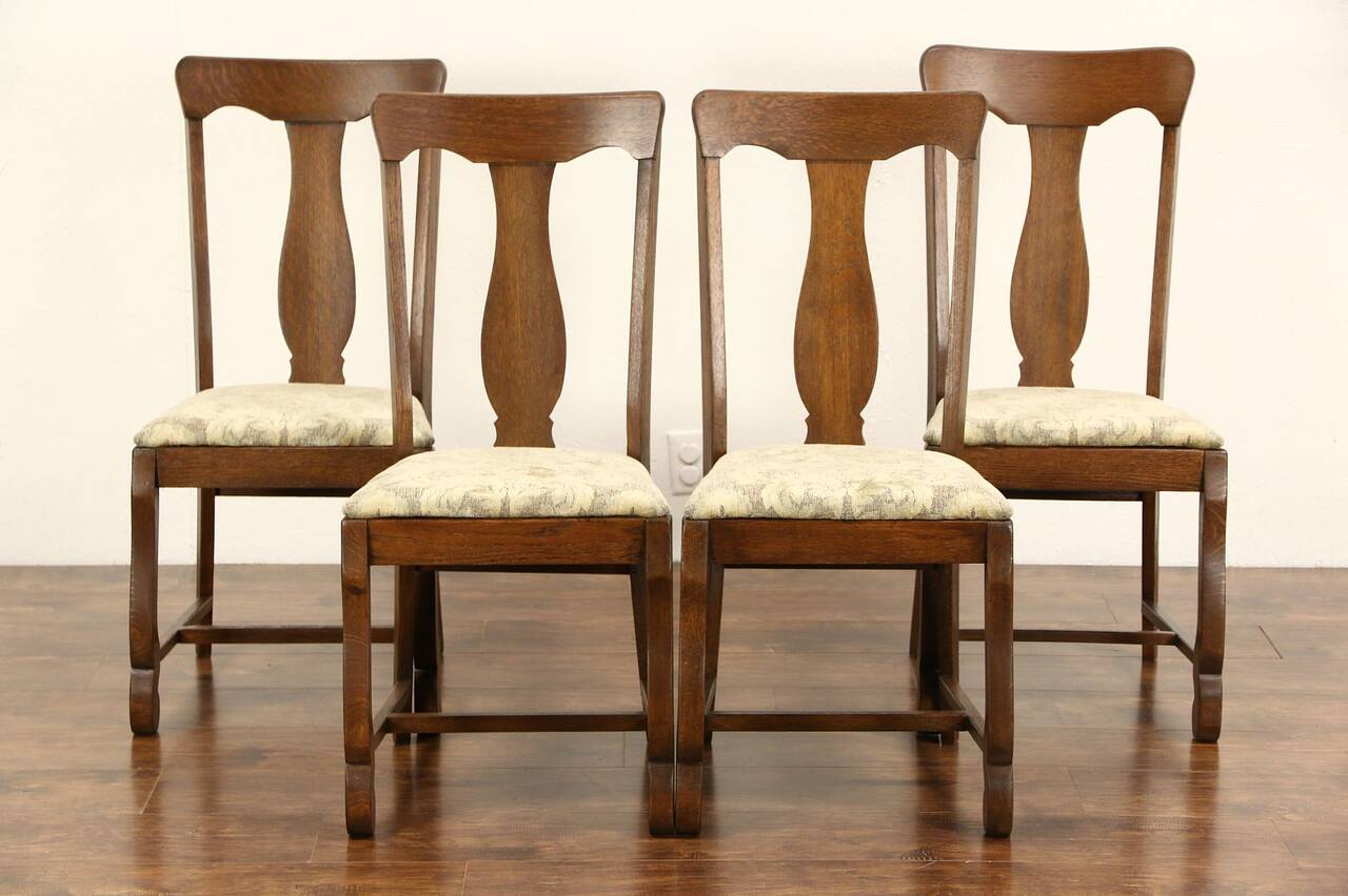 Oak Dining Chair Set Of 4 Antique 1900 Oak Dining Or Game Table Chairs New
