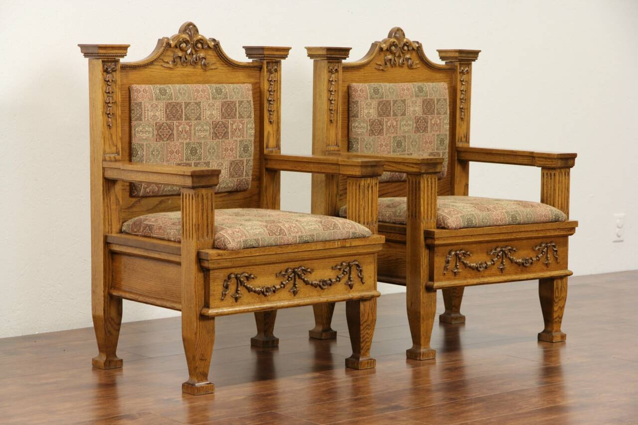 Antique Chairs Ebay Pair Of Oak 1900 Antique Throne Or Hall Chairs New