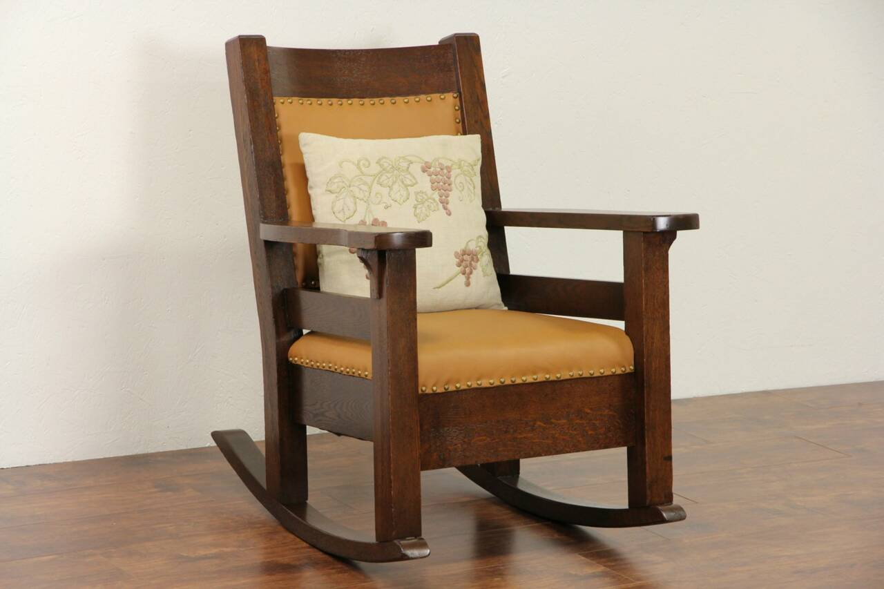 Rocky Chair Arts And Crafts Mission Oak 1905 Antique Rocker Craftsman