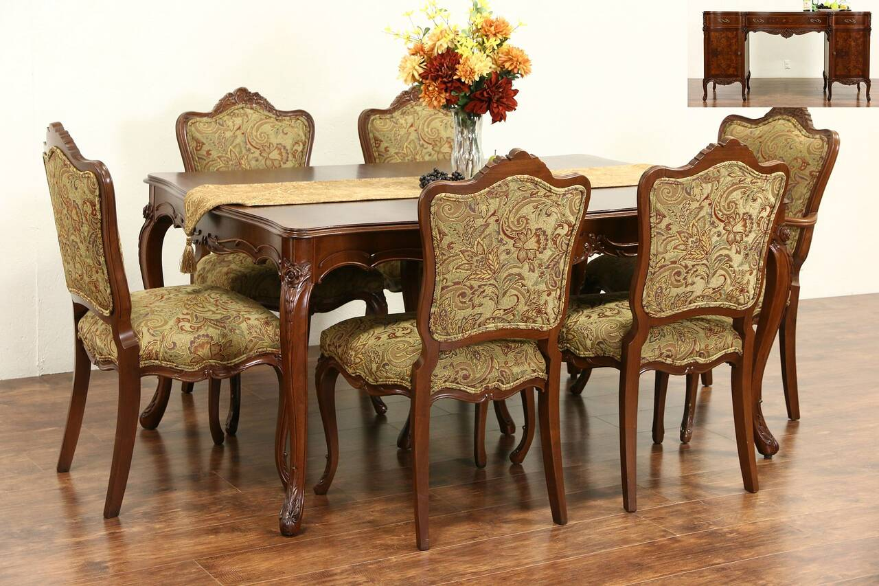 Country Dining Chairs Country French 1940 39s Vintage Dining Set Table Leaves 6
