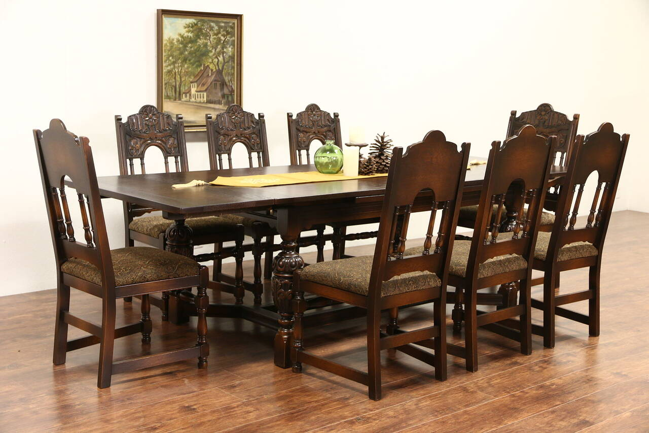 Dining Chairs Set English Tudor Carved Oak 1925 Antique Dining Set Table