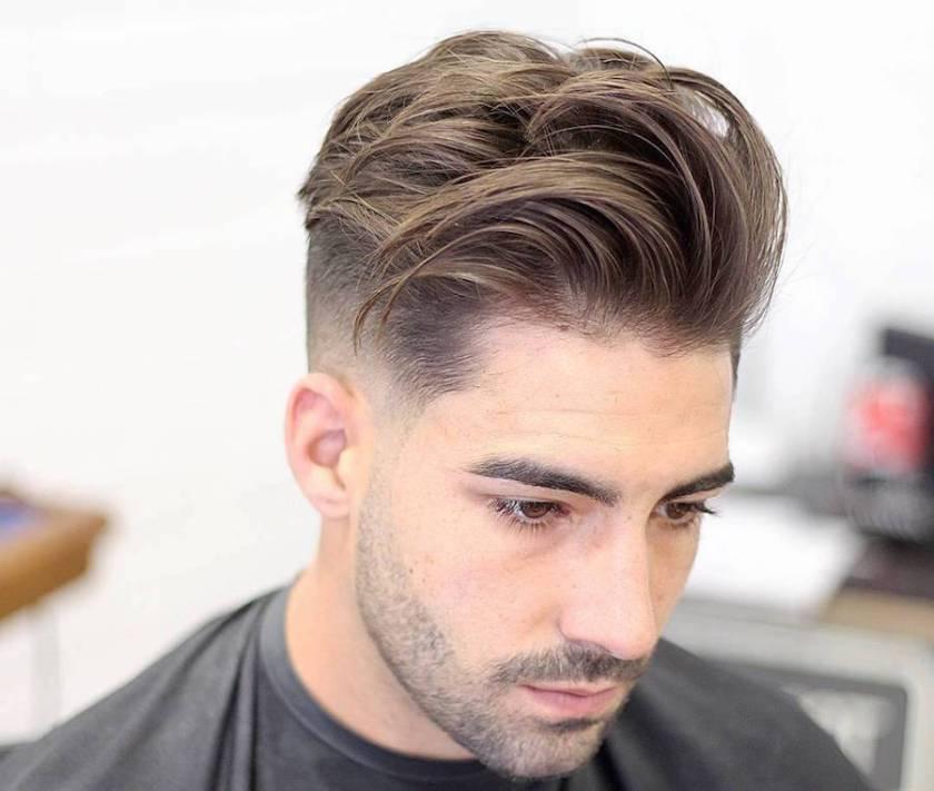 Medium Length Hairstyles For Men: Mid Fade + Longer Textuerd Hair On Top  -harpmagazine-com