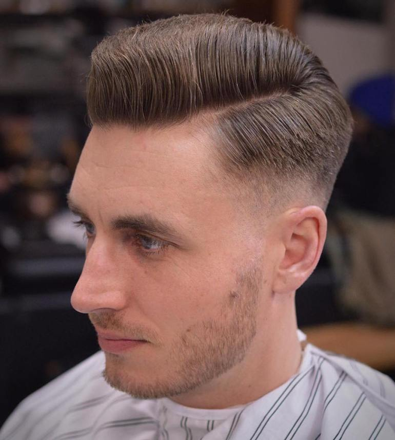 Medium Hairstyles for Men: Side Part Pomp 10