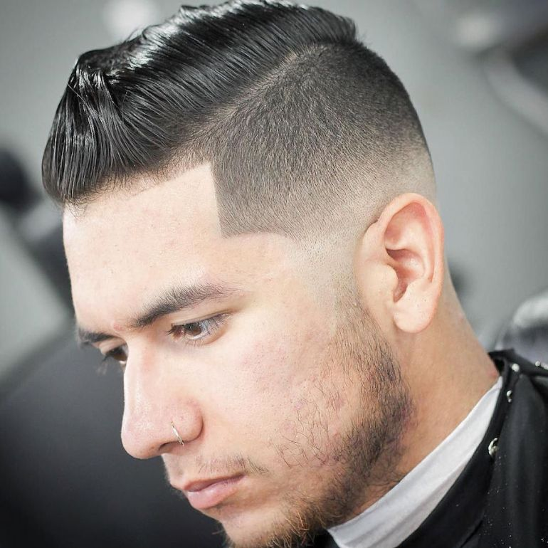 Medium Hairstyles for Men: Slicked Pompadour + High Fade - harpmagazine-com