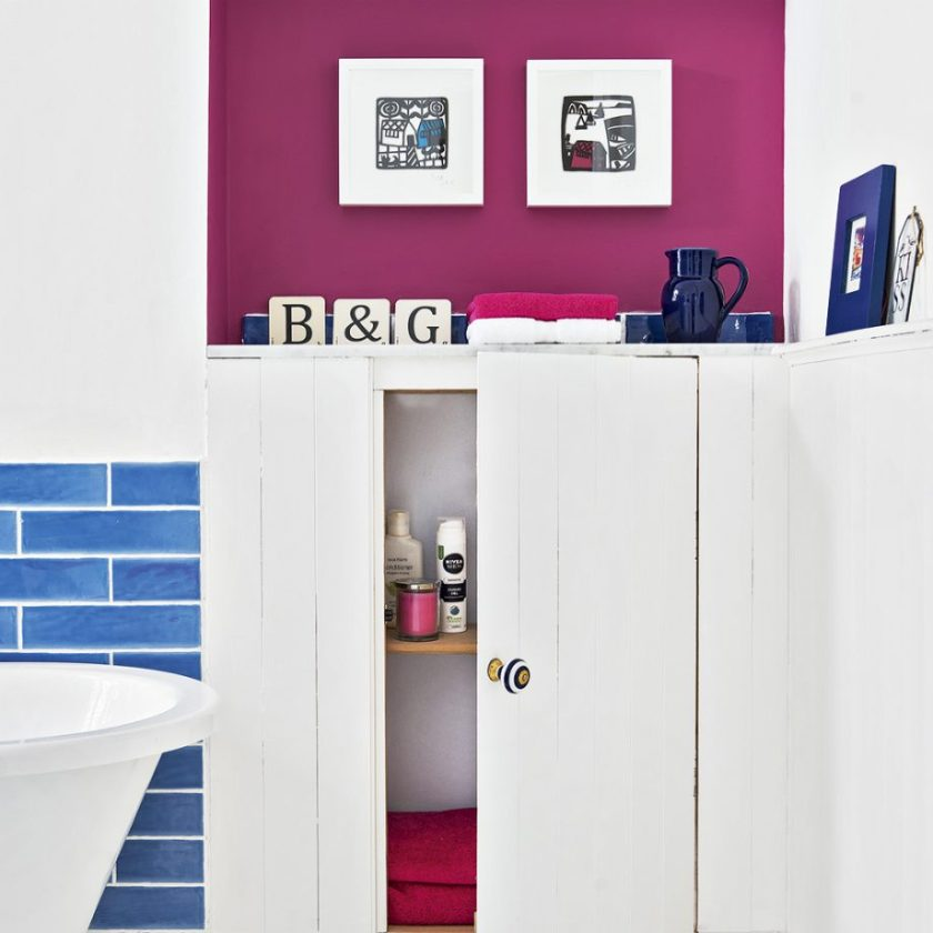 Add A Hint of Colour to A White Suite on Small Bathroom Decor
