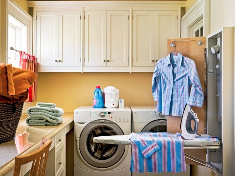Small Laundry Room Ideas - Add Accessories That Hide Away