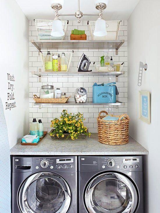 33 Floating Shelves. Small Laundry Room Ideas ...