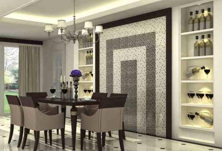 Modern Dining Room Wall Decor, Glossy Mosaic Wall And Decorative Shelves - harpmagazine.com