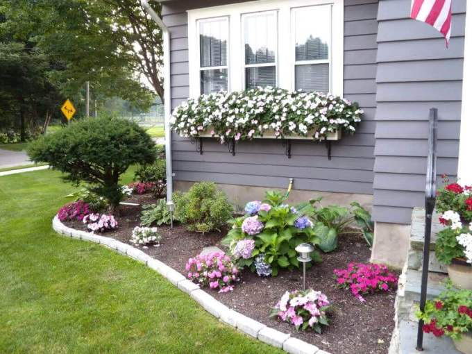 Front Yard Landscaping Ideas Cheerful Floral Border and Window Boxes - harpmagazine