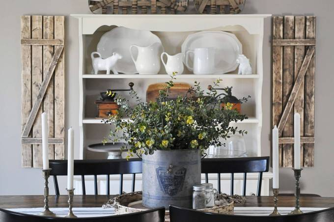 Dining Room Wall Decor Ideas - A Floral Centerpiece with an Old Farmhouse Backdrop - harpmagazine.com