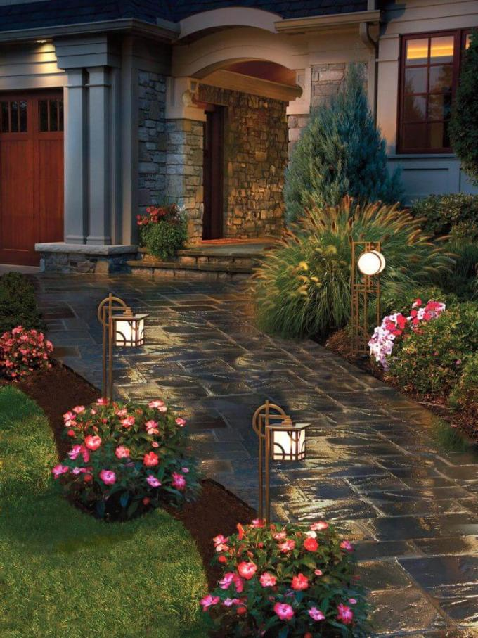 Modern Craftsman Lighted Path Front Yard Landscaping Ideas