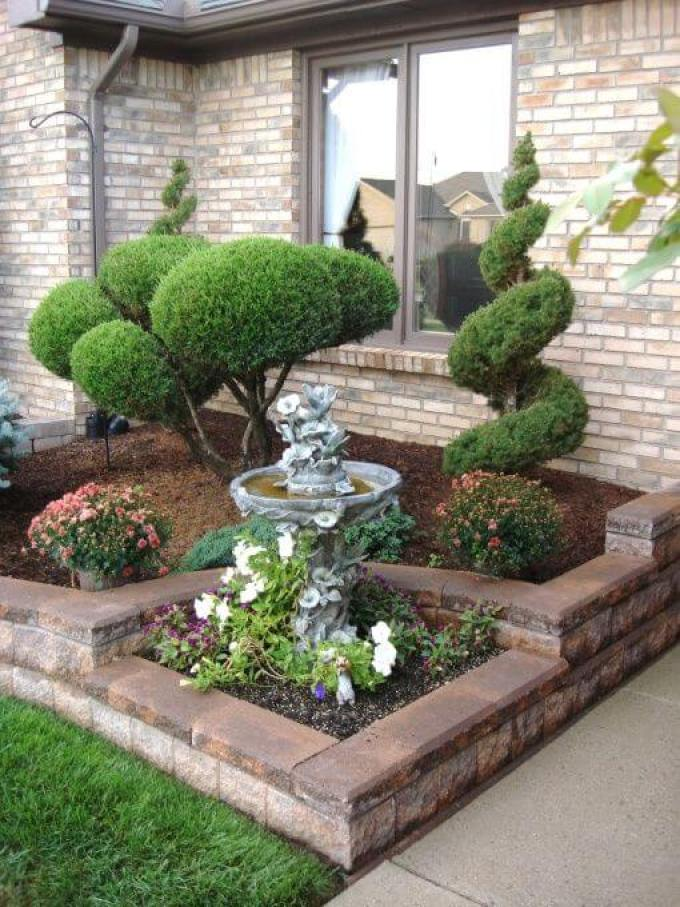 Front Yard Landscaping Ideas - Easy Care Evergreen Entryway - harpmagazine