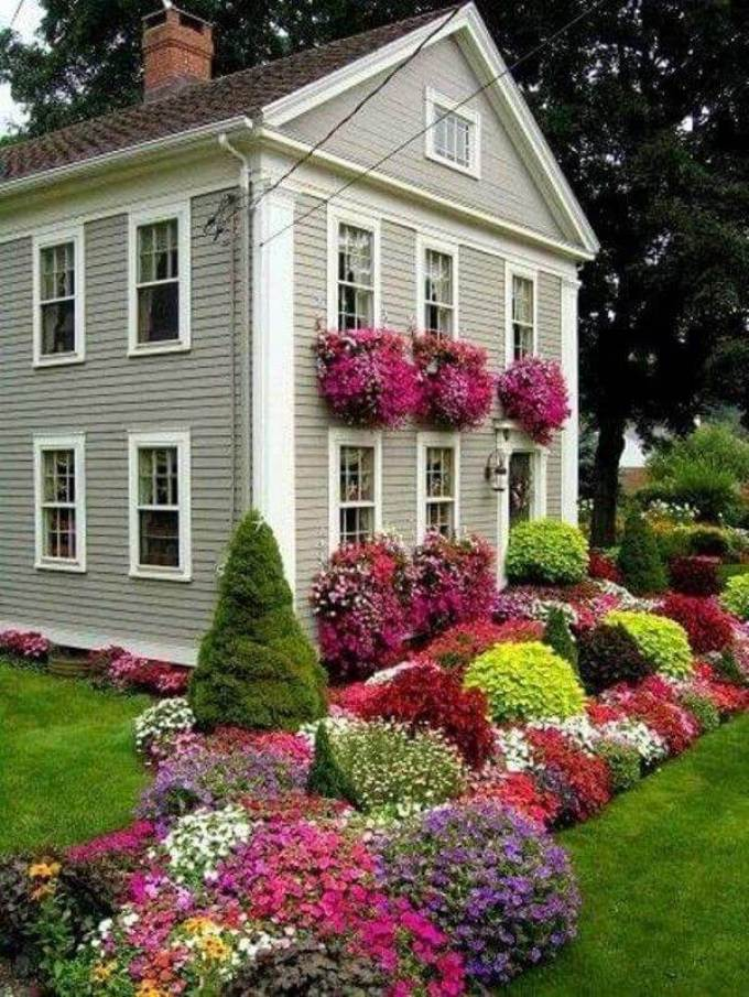Front Yard Landscaping Ideas Multi-Season Flowerbed with Annuals and Evergreens - harpmagazine