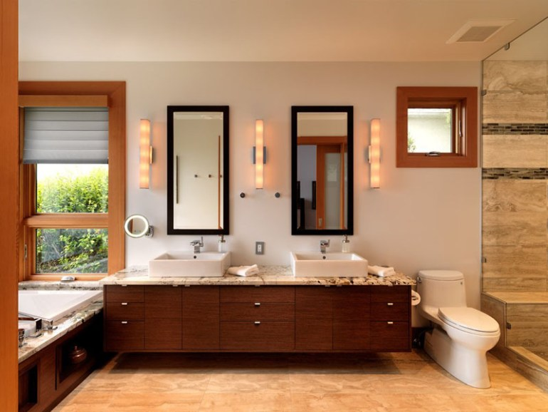 Bathroom Mirror Ideas - Two Rectangular Mirrors 3 - harpmagazine.com