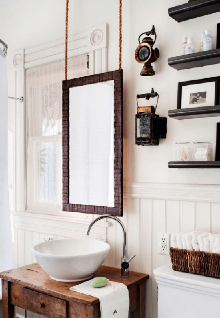 Hanging Wood Bathroom Mirror Ideas - harpmagazine.com
