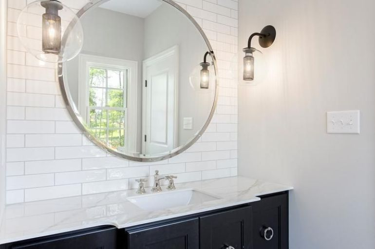 Traditional Bathroom Mirror Ideas With Large Round Mirror