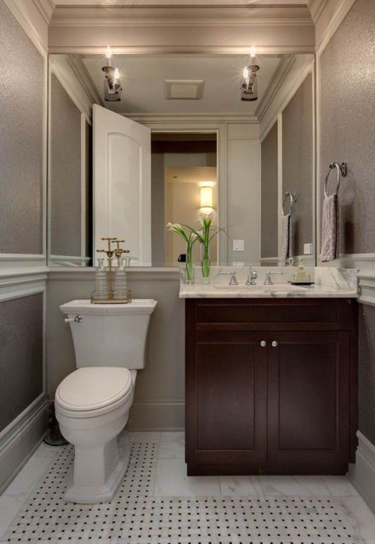 Transitional Powder Room With Wall-To-Wall Bathroom Mirror Ideas