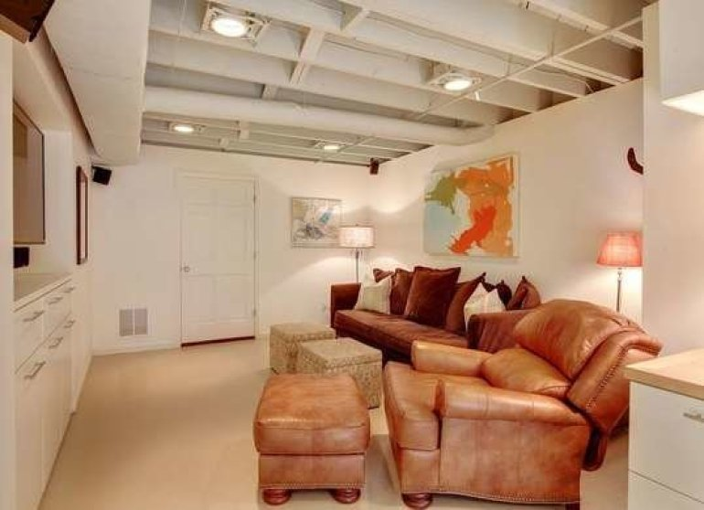 Basement Ceiling Ideas - Painted Pipes and Beams - harpmagazine.com