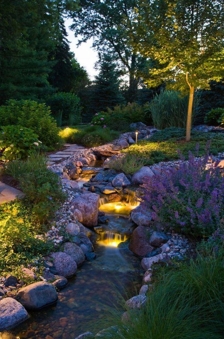 Backyard Landscaping Ideas - Lighted Waterfall - harpmagazine.com