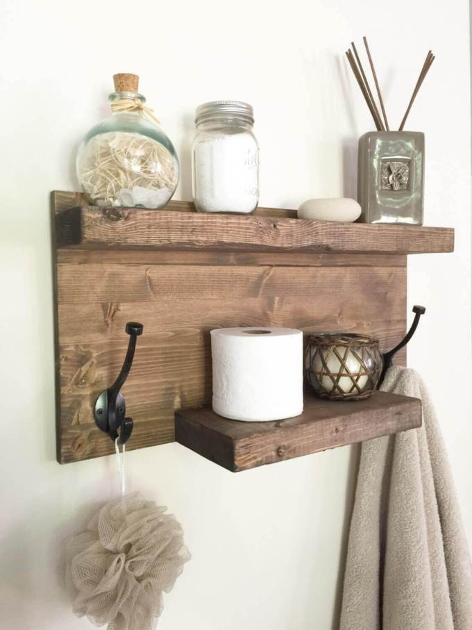 Farmhouse Bathroom Decor Ideas - DIY Wood Towel Rack and Organizer - harpmagazine.com