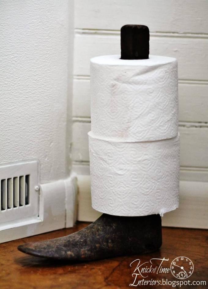 Farmhouse Bathroom Decor Ideas - Antique Boot Stand Toilet Paper Holder - harpmagazine.com