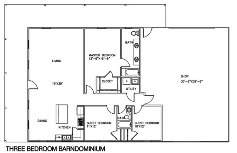 Modern Barndominium Floor Plans 2 Story with Loft [30x40, 40x50, 40x60]