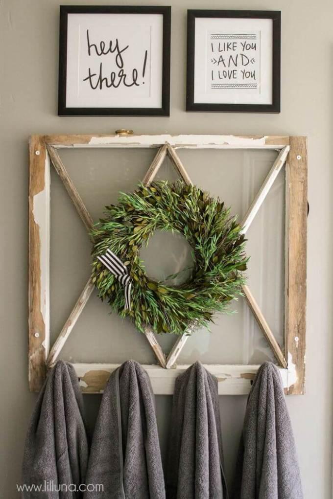 Farmhouse Bathroom Decor Ideas - Upcycled Window Frame Towel Rack - harpmagazine.com