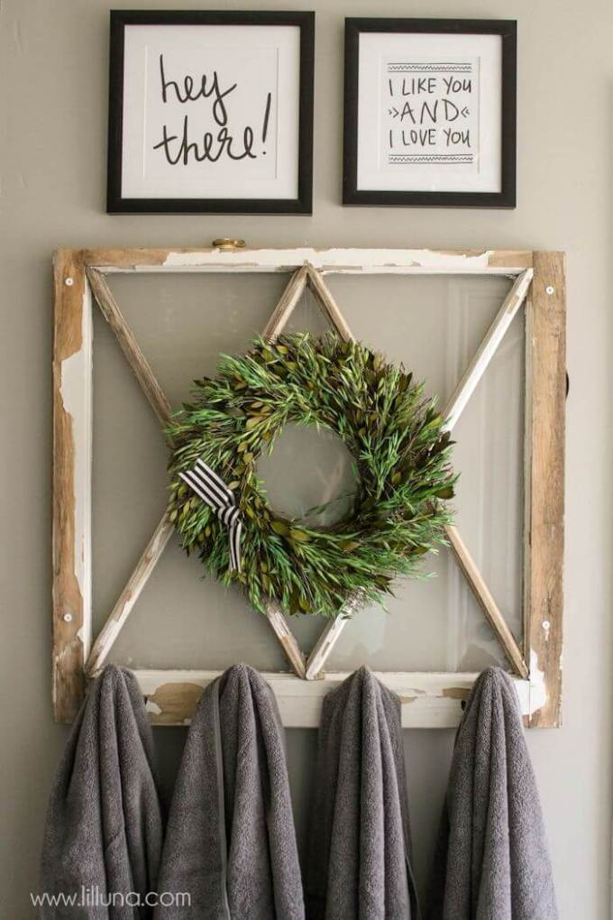 Farmhouse Bathroom Decor Ideas - Upcycled Window Frame Towel Rack - harpmagazine.com